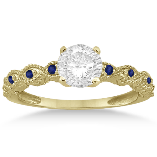 Antique Blue Sapphire Engagement Ring Set 14k Yellow Gold (0.36ct)