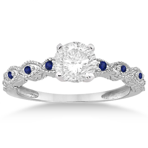 Antique Pave Blue Sapphire Engagement Ring Set Palladium (0.36ct)