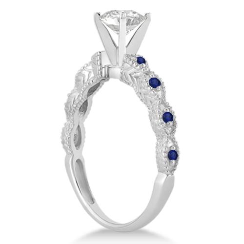 Antique Pave Blue Sapphire Engagement Ring Set Palladium (0.36ct)