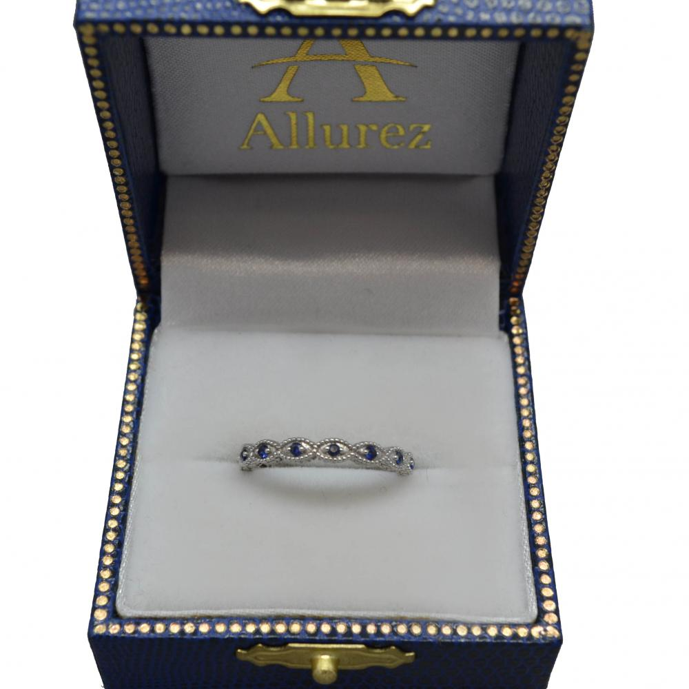 Antique Marquise Shape Blue Sapphire Wedding Ring 14k White Gold (0.18ct)