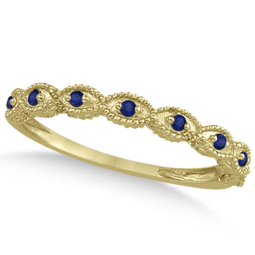 Antique Marquise Shape Blue Sapphire Wedding Ring 14k Yellow Gold (0.18ct)
