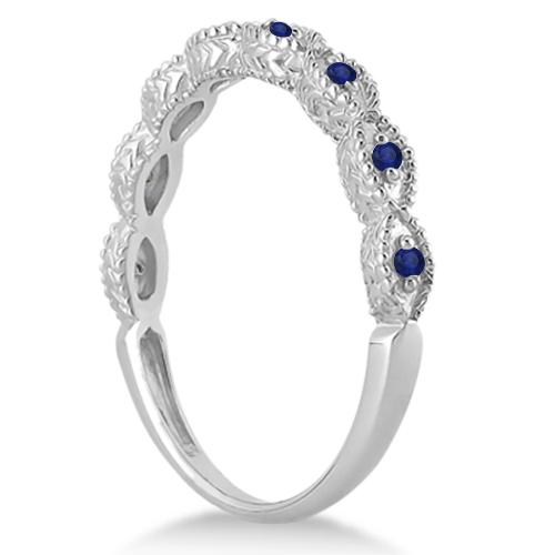Antique Marquise Shape Blue Sapphire Wedding Ring Palladium (0.18ct)