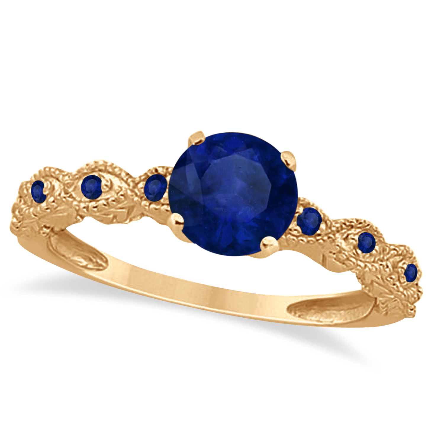 Vintage Style Blue Sapphire Engagement Ring in 14k Rose Gold (1.18ct)