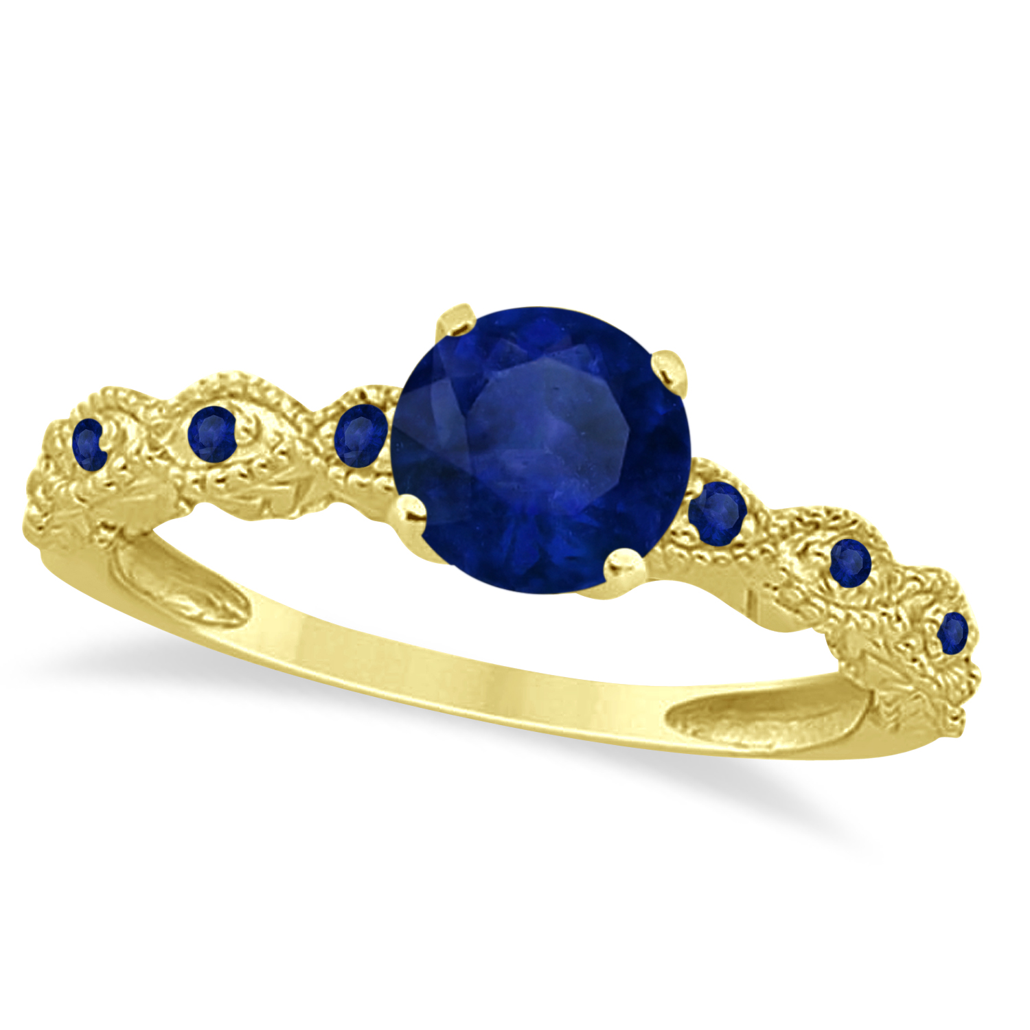 Vintage Style Blue Sapphire Engagement Ring in 14k Yellow Gold (1.18ct)