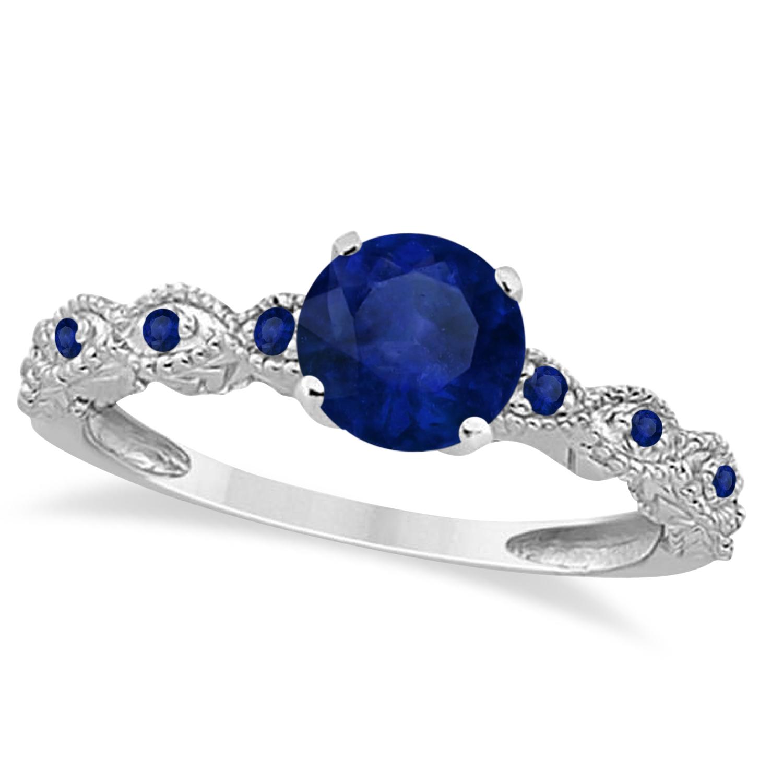Vintage Blue Sapphire Engagement Ring Bridal Set 14k White Gold 1.36ct