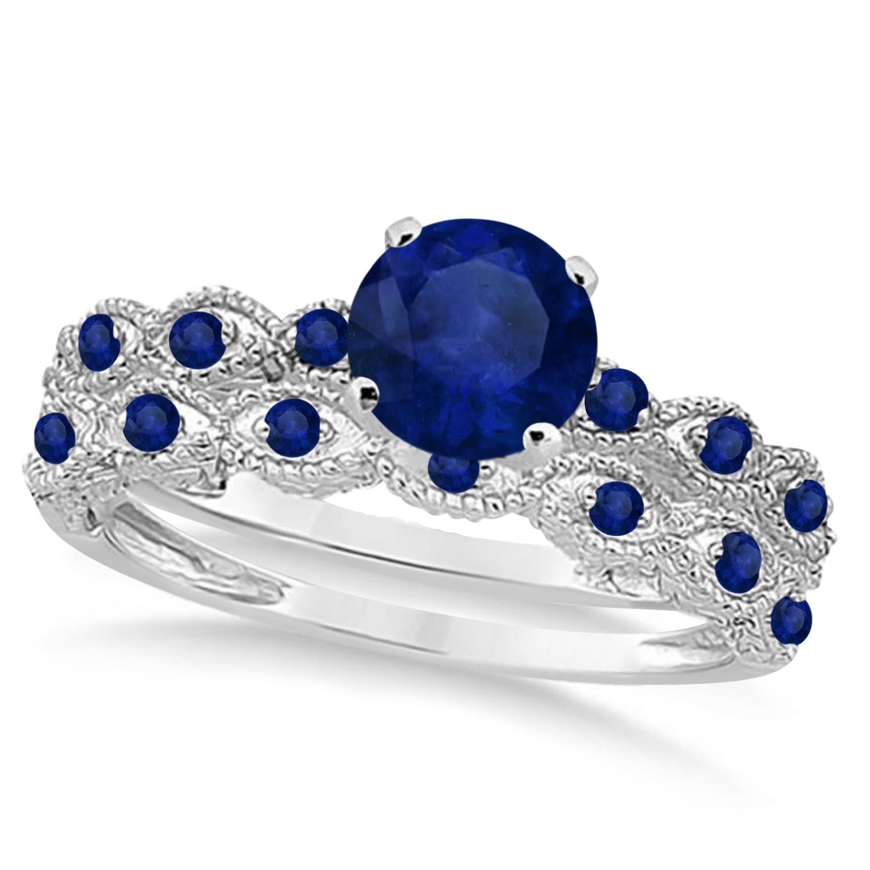 Vintage Blue Sapphire Engagement Ring Bridal Set 18k White Gold 1.36ct