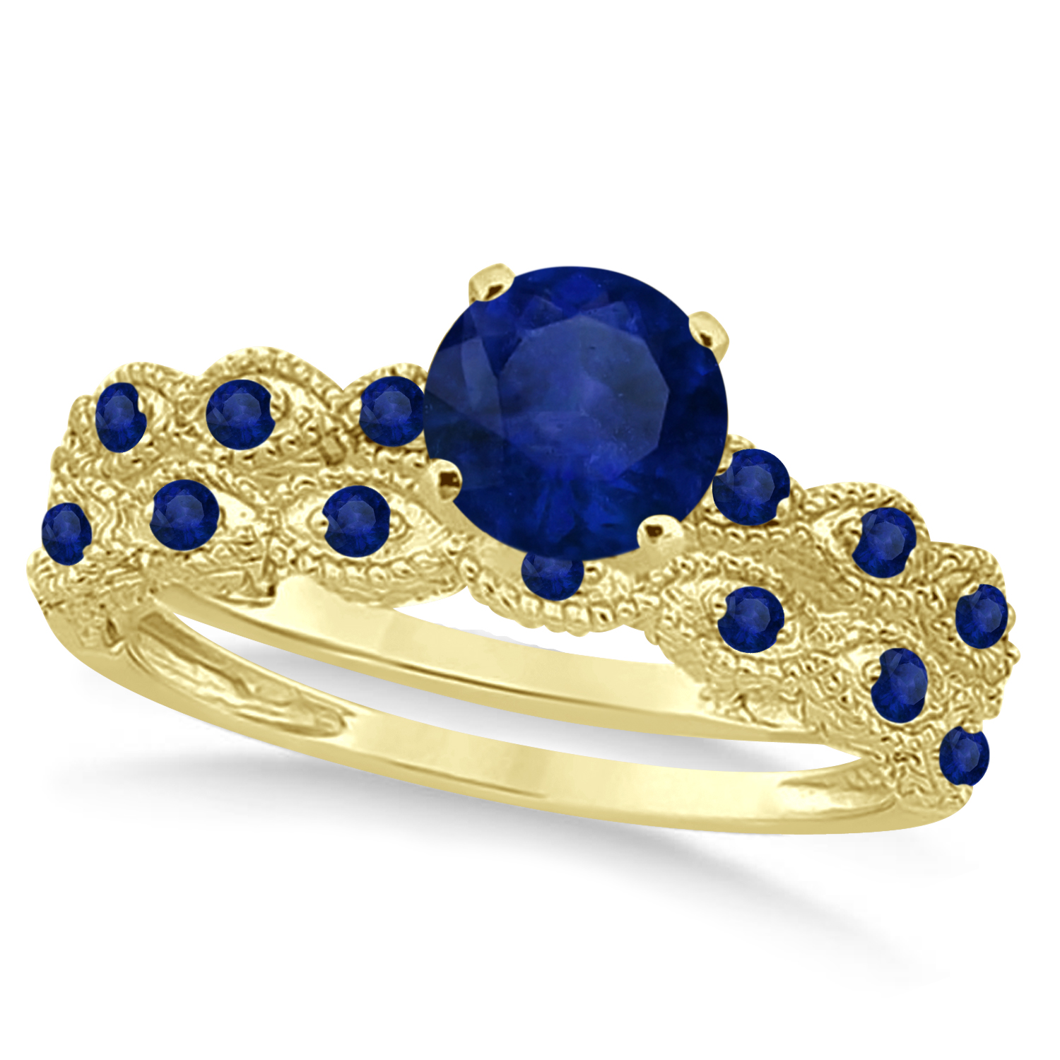 Vintage Blue Sapphire Engagement Ring Bridal Set 18k Yellow Gold 1.36ct