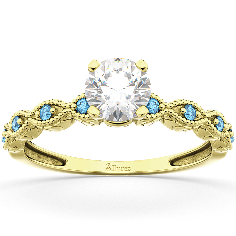 vintage marquise blue topaz engagement ring 14k yellow