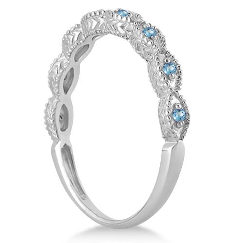 Antique Blue Topaz Bridal Set Marquise Shape 18K White Gold 0.36ct