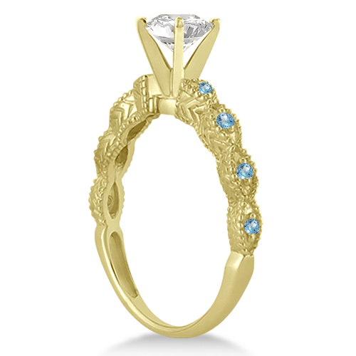Antique Blue Topaz Bridal Set Marquise Shape 18K Yellow Gold 0.36ct