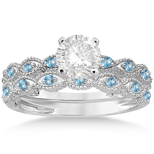 Antique Blue Topaz Bridal Set Marquise Shape Platinum 0.36ct