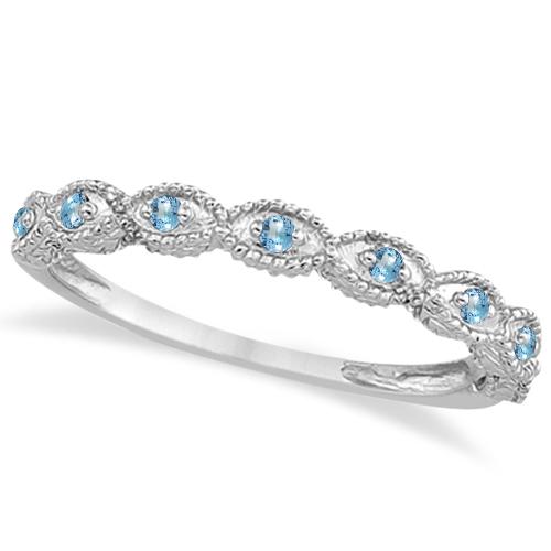 Antique Marquise Shape Blue Topaz Wedding Ring Platinum (0.18ct)
