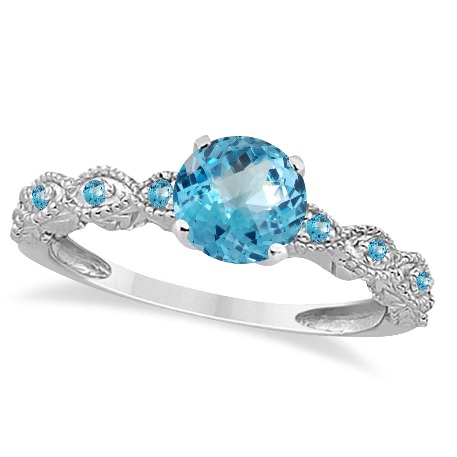 Vintage Style Blue Topaz Engagement Ring 14k White Gold (1.18ct)