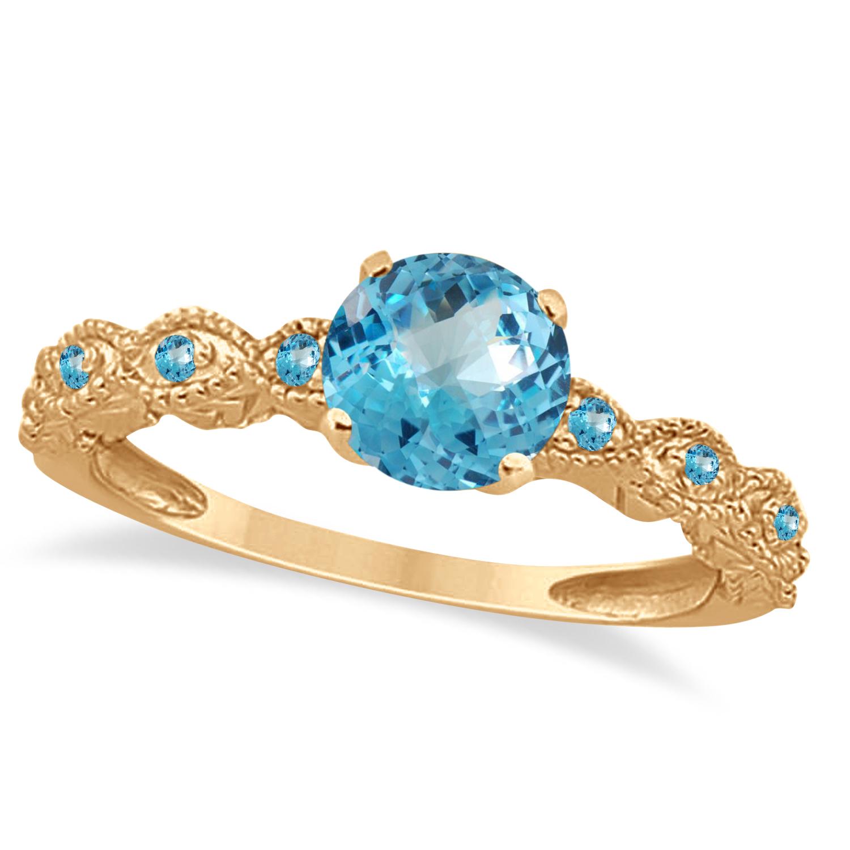 Vintage Style Blue Topaz Engagement Ring 18k Rose Gold (1.18ct)