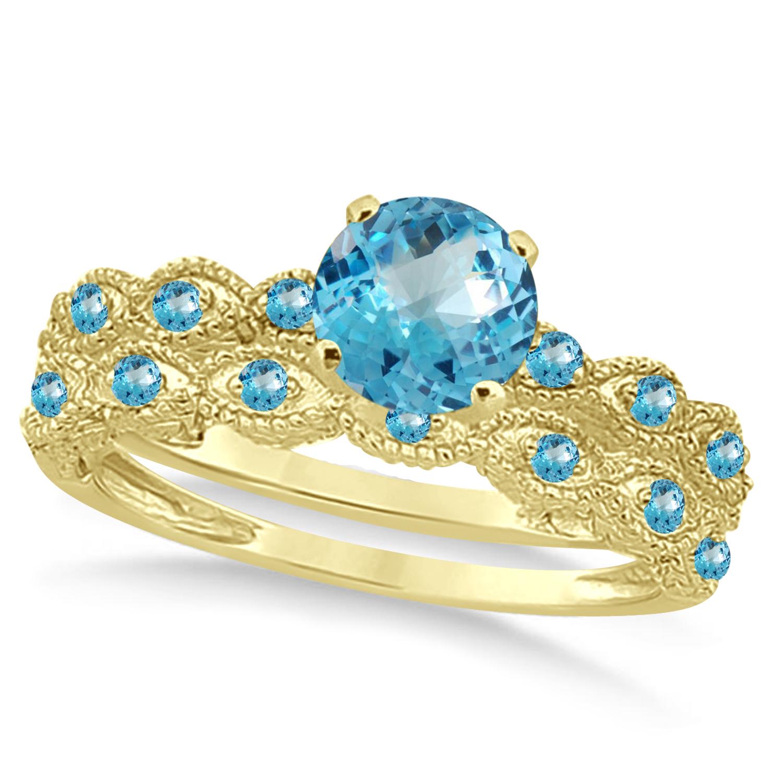 Vintage Blue Topaz Engagement Ring Bridal Set 14k Yellow Gold 1.36ct