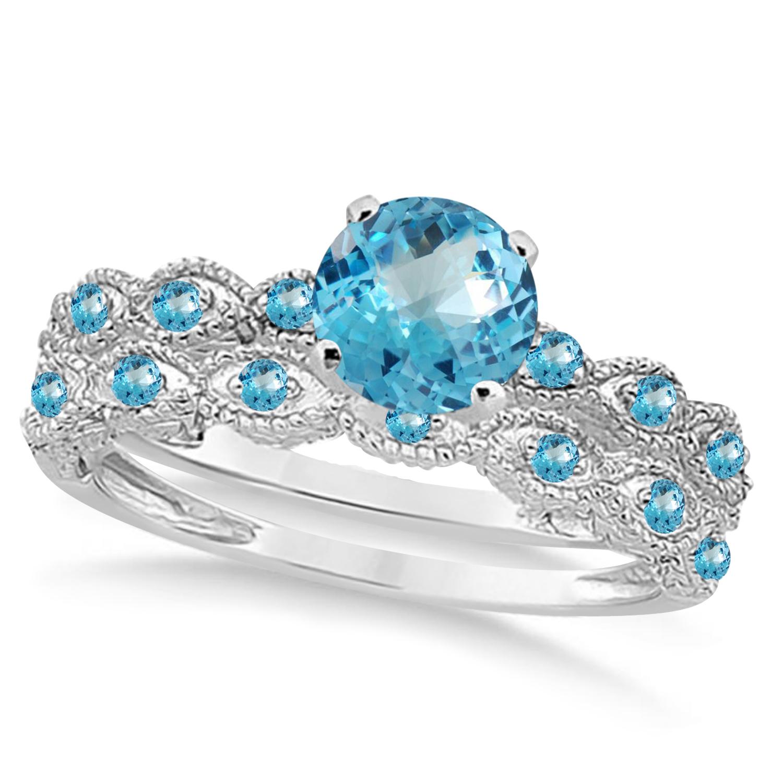 Vintage Blue Topaz Engagement Ring Bridal Set Platinum 1.36ct