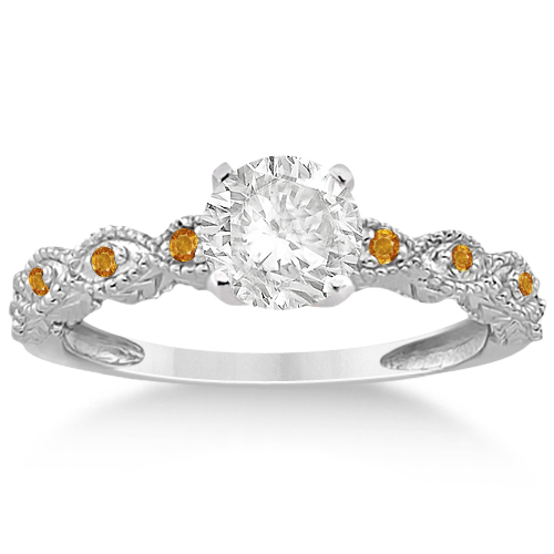 Antique Citrine Bridal Set Marquise Shape 14K White Gold 0.36ct