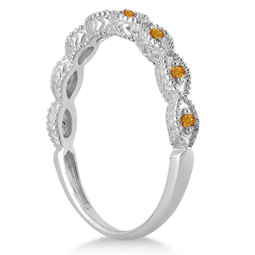 Antique Marquise Shape Citrine Wedding Ring 18k White Gold (0.18ct)