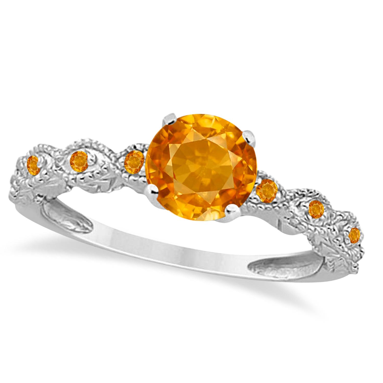 Vintage Style Citrine Engagement Ring 14k White Gold (1.18ct)