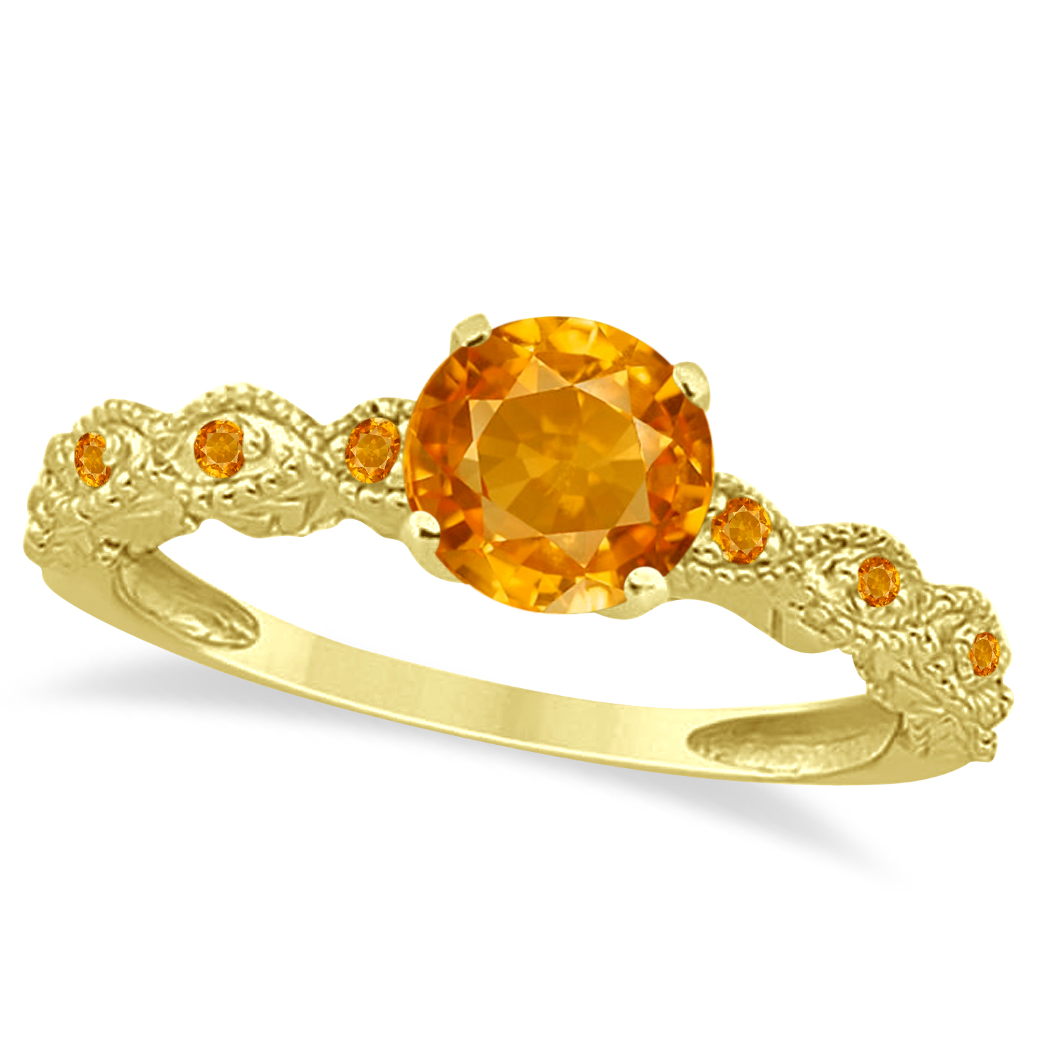 Vintage Style Citrine Engagement Ring 14k Yellow Gold (1.18ct)