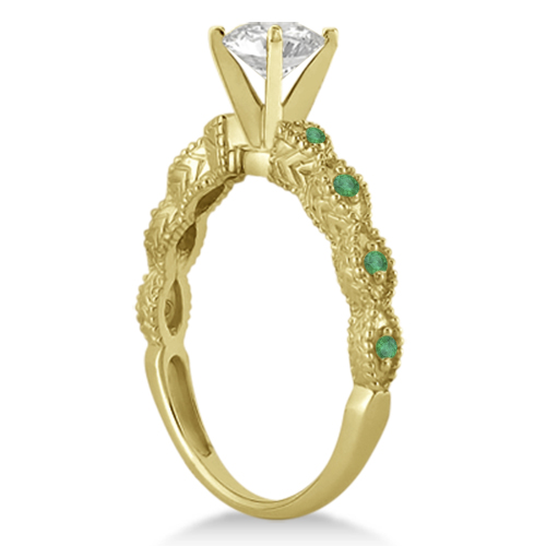 Vintage Marquise Emerald Engagement Ring 14k Yellow Gold (0.18ct)
