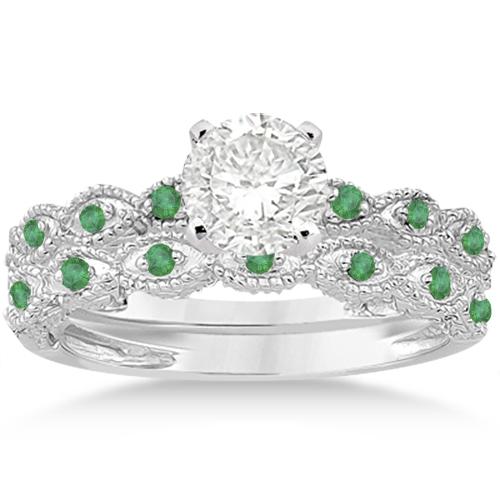 Antique Emerald Engagement Ring and Wedding Band Palladium (0.36ct)