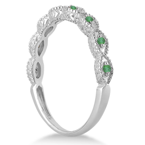Antique Marquise Shape Emerald Wedding Ring 14k White Gold (0.18ct)