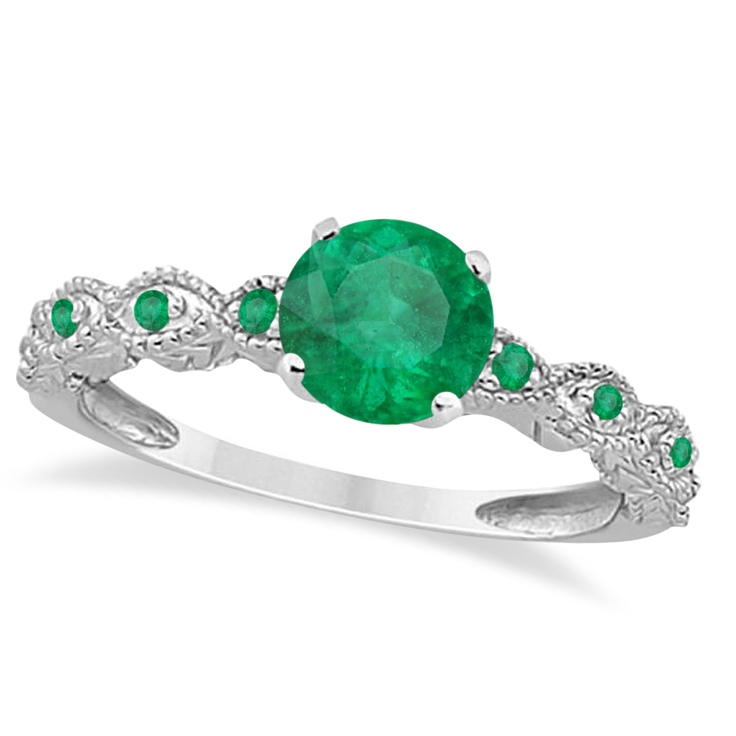 Vintage Style Emerald Engagement Ring 18k White Gold (1.18ct)