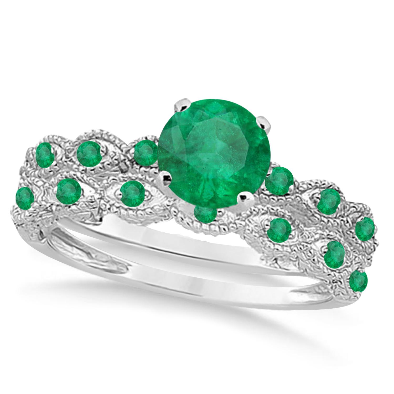 Vintage Emerald Engagement Ring Bridal Set 14k White Gold 1.36ct