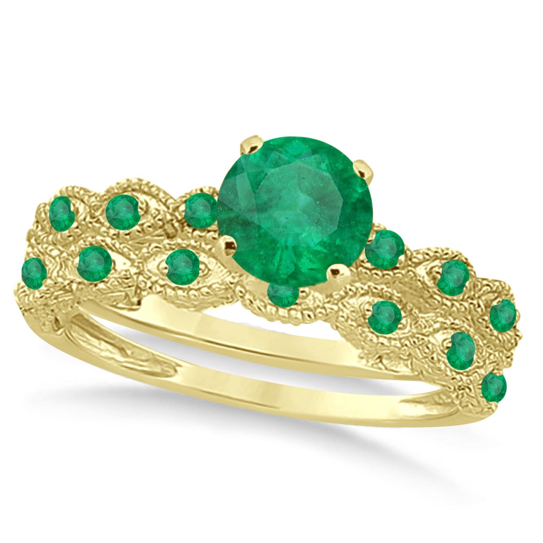 Vintage Emerald Engagement Ring Bridal Set 14k Yellow Gold 1.36ct