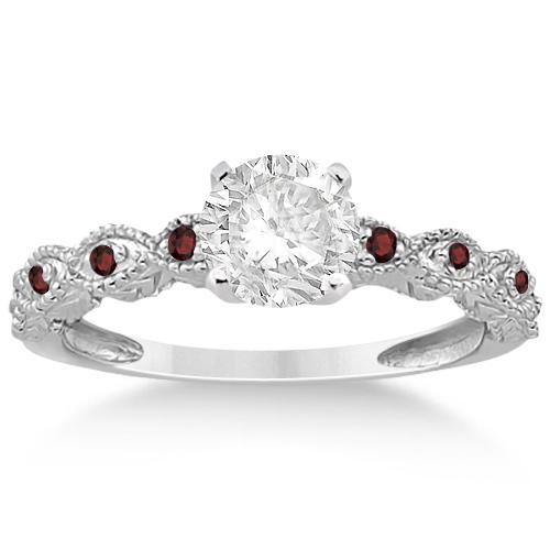 Vintage Marquise Garnet Engagement Ring Platinum (0.18ct)