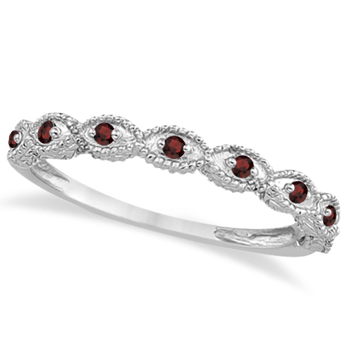 antique marquise shape garnet wedding ring 14k white gold 018ct