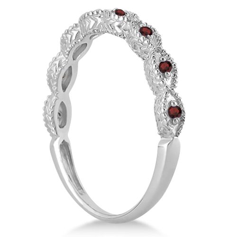 Antique Marquise Shape Garnet Wedding Ring 14k White Gold (0.18ct)