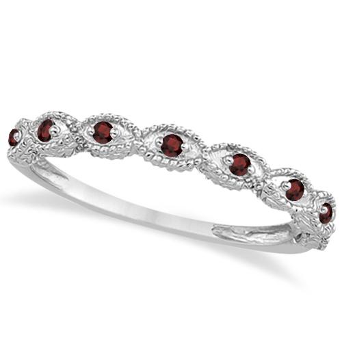 Antique Marquise Shape Garnet Wedding Ring Platinum (0.18ct)