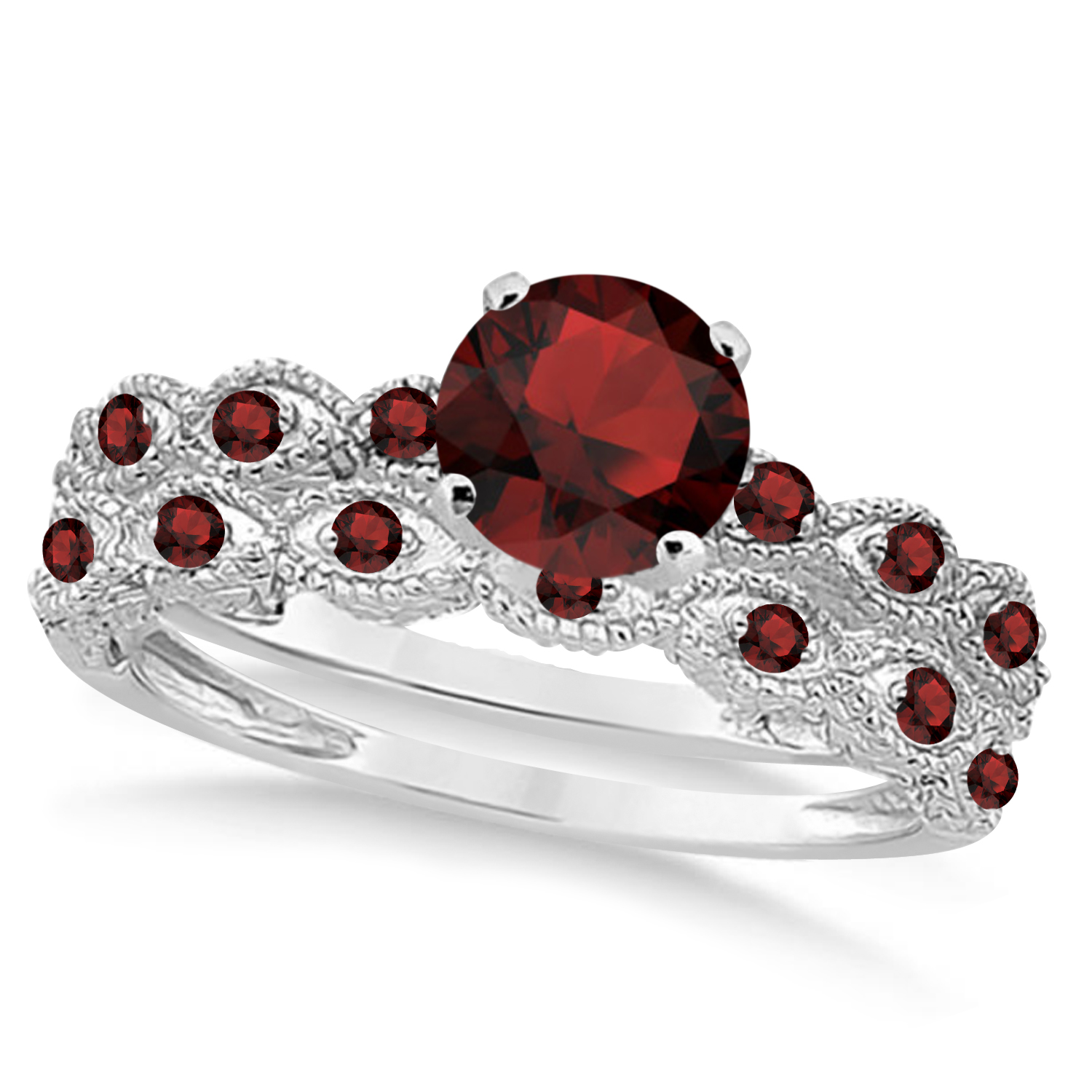 Vintage Garnet Engagement Ring Bridal Set 18k White Gold 1.36ct