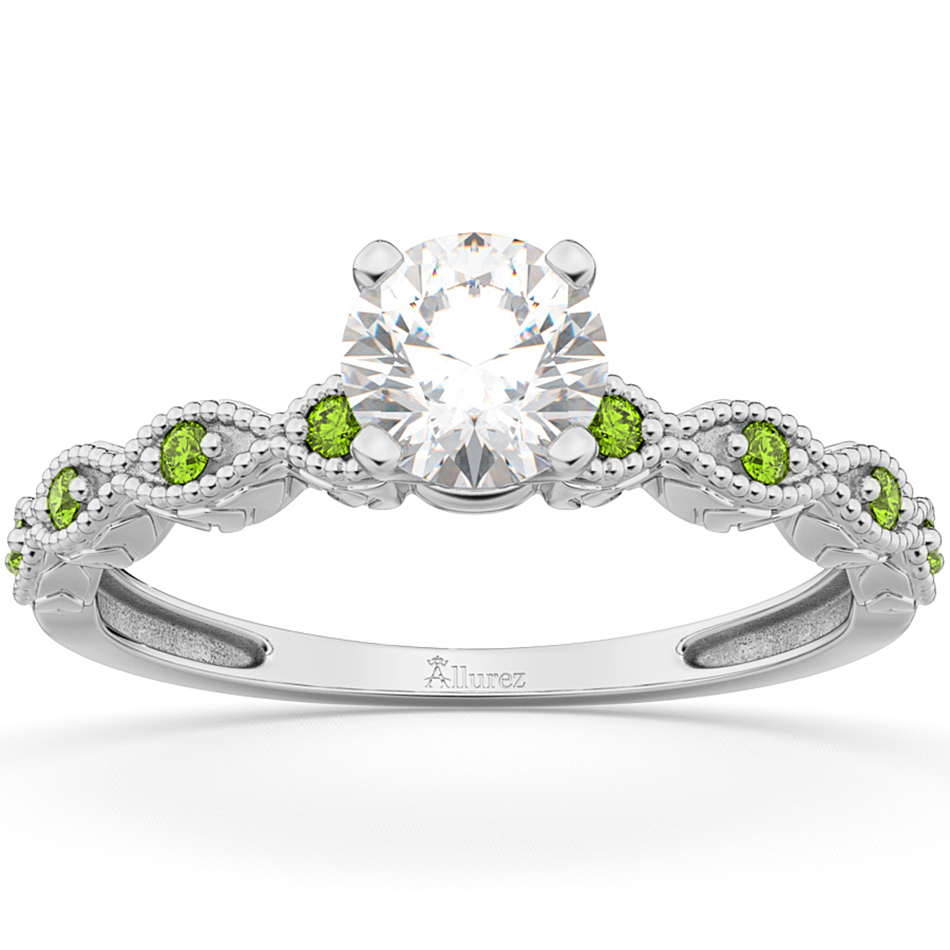 Vintage Marquise Peridot Engagement Ring 14k White Gold (0.18ct)