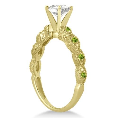 Antique Peridot Bridal Set Marquise Shape 18K Yellow Gold 0.36ct