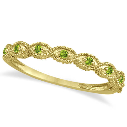 Antique Marquise Shape Peridot Wedding Ring 14k Yellow Gold (0.18ct)