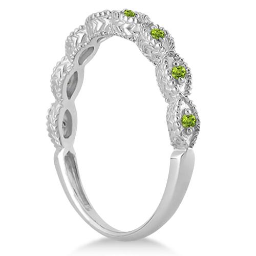 Antique Marquise Shape Peridot Wedding Ring 18k White Gold (0.18ct)