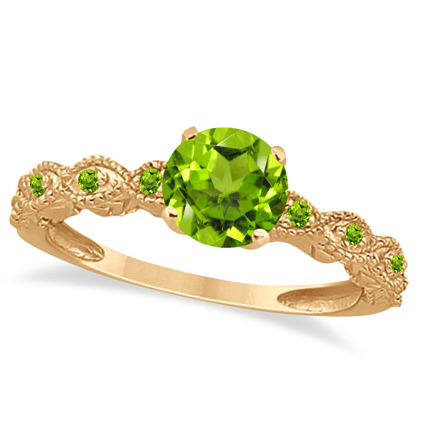 Vintage Style Peridot Engagement Ring 14k Rose Gold (1.18ct)
