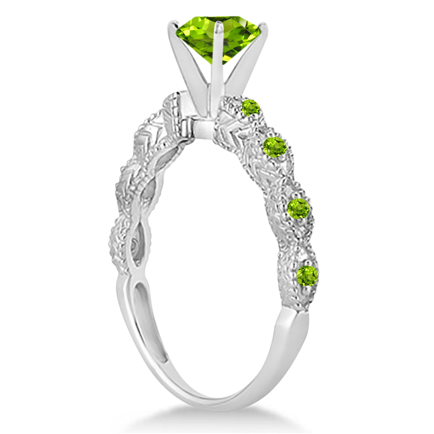 Vintage Style Peridot Engagement Ring 14k White Gold (1.18ct)