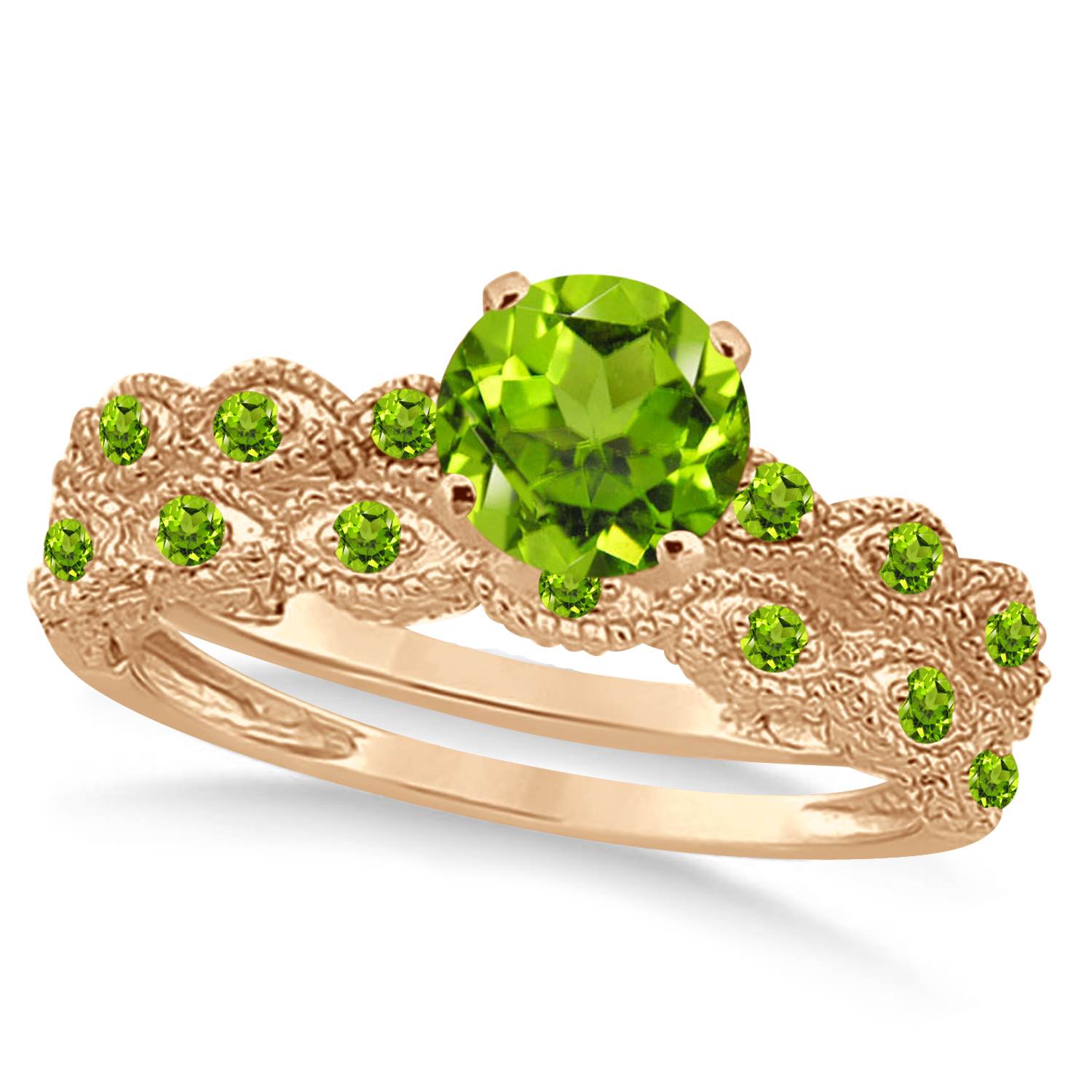 Vintage Peridot Engagement Ring Bridal Set 18k Rose Gold 1.36ct