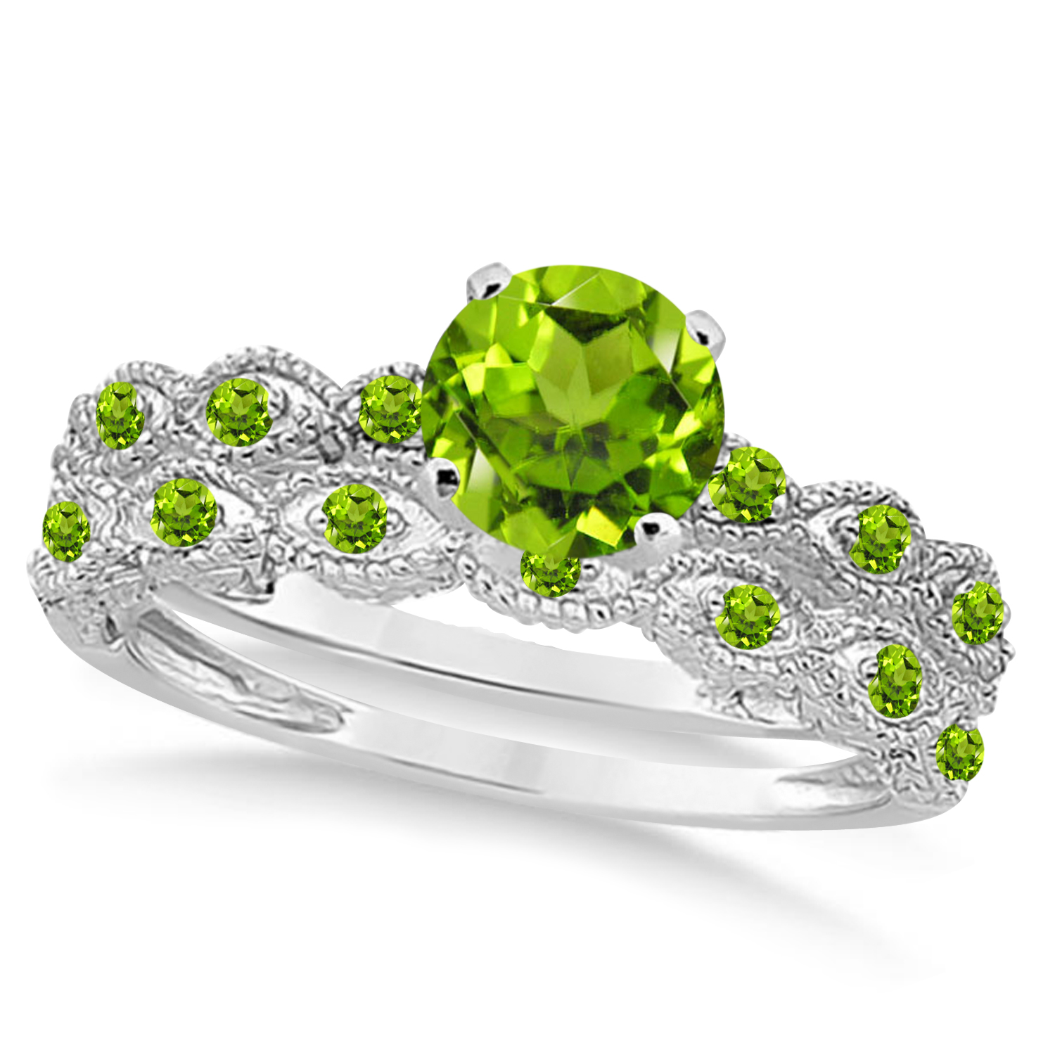 Vintage Peridot Engagement Ring Bridal Set Palladium 1.36ct