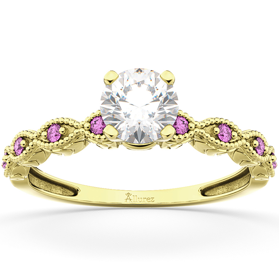 Vintage Marquise Pink Sapphire Engagement Ring 14k Yellow Gold (0.18ct)