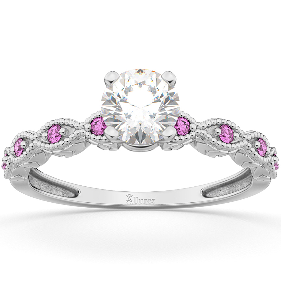 Vintage Marquise Pink Sapphire Engagement Ring 18k White Gold (0.18ct)