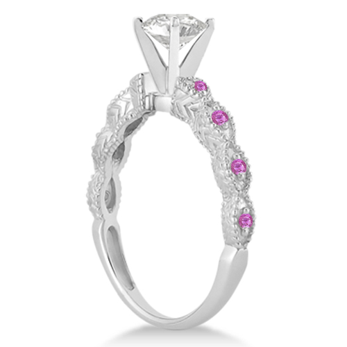 Vintage Marquise Pink Sapphire Engagement Ring Palladium (0.18ct)