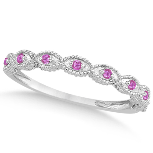Antique Pink Sapphire Engagement Ring Set 18k White Gold (0.36ct)