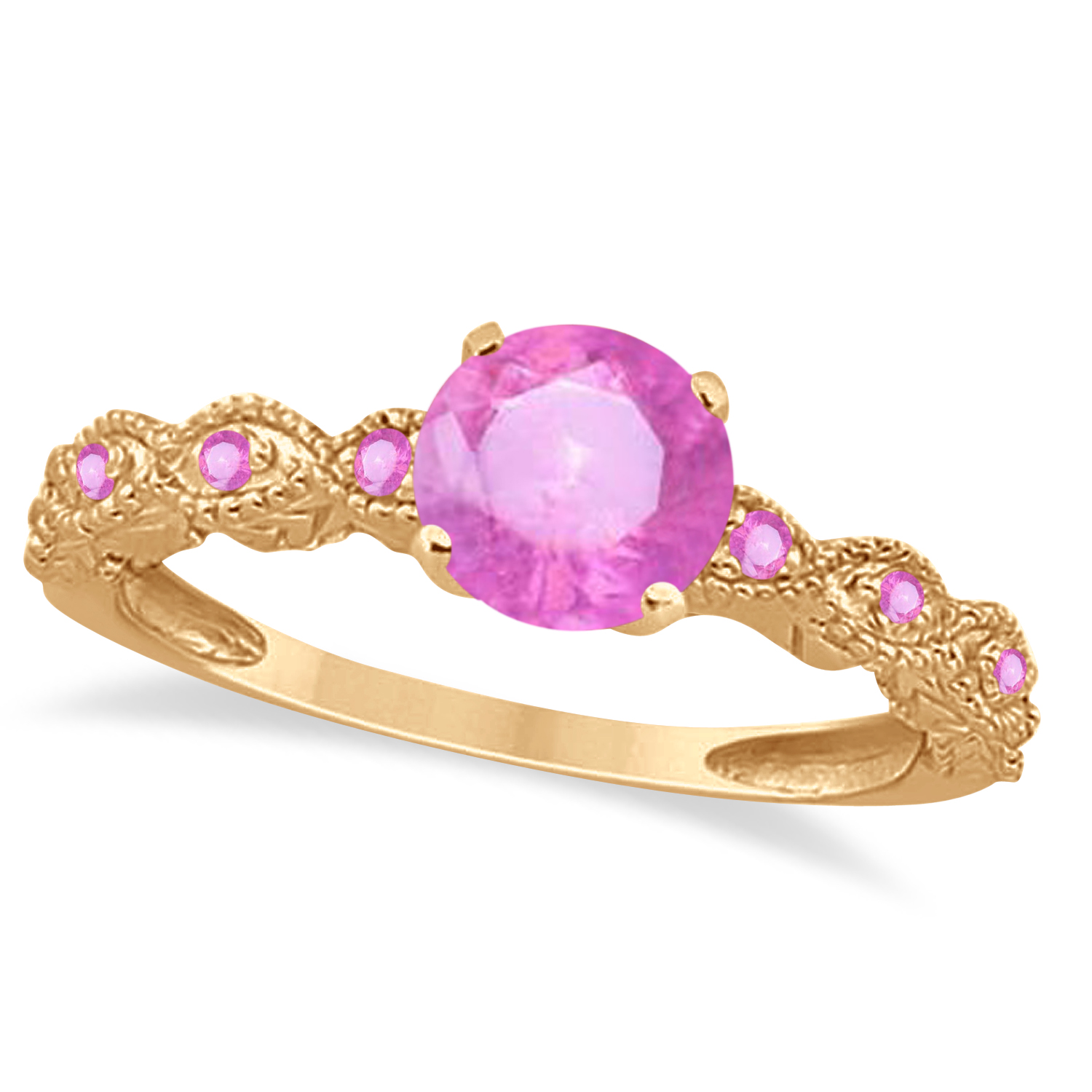Vintage Style Pink Sapphire Engagement Ring in 18k Rose Gold (1.18ct)