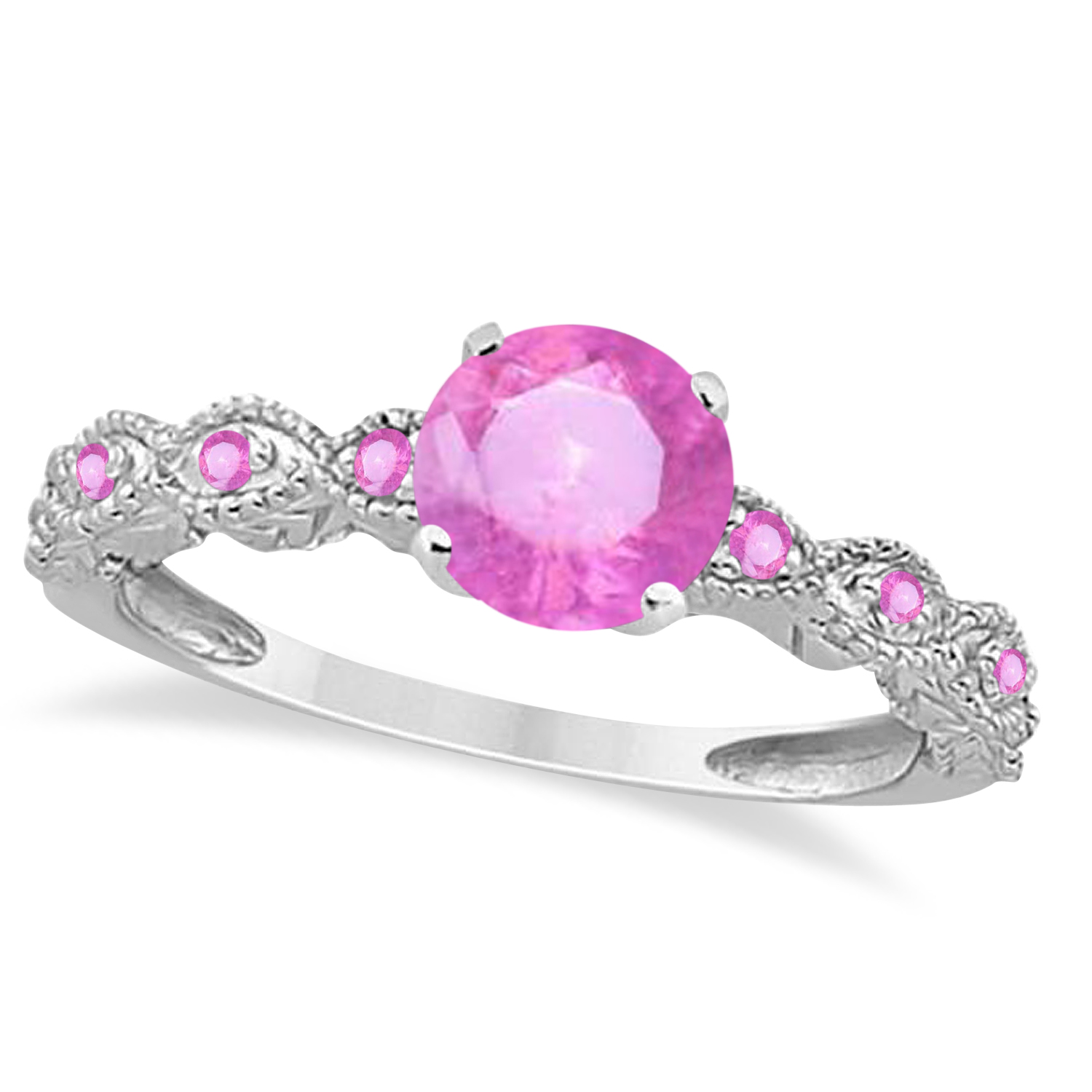 Vintage Pink Sapphire Engagement Ring Bridal Set 14k White Gold 1.36ct