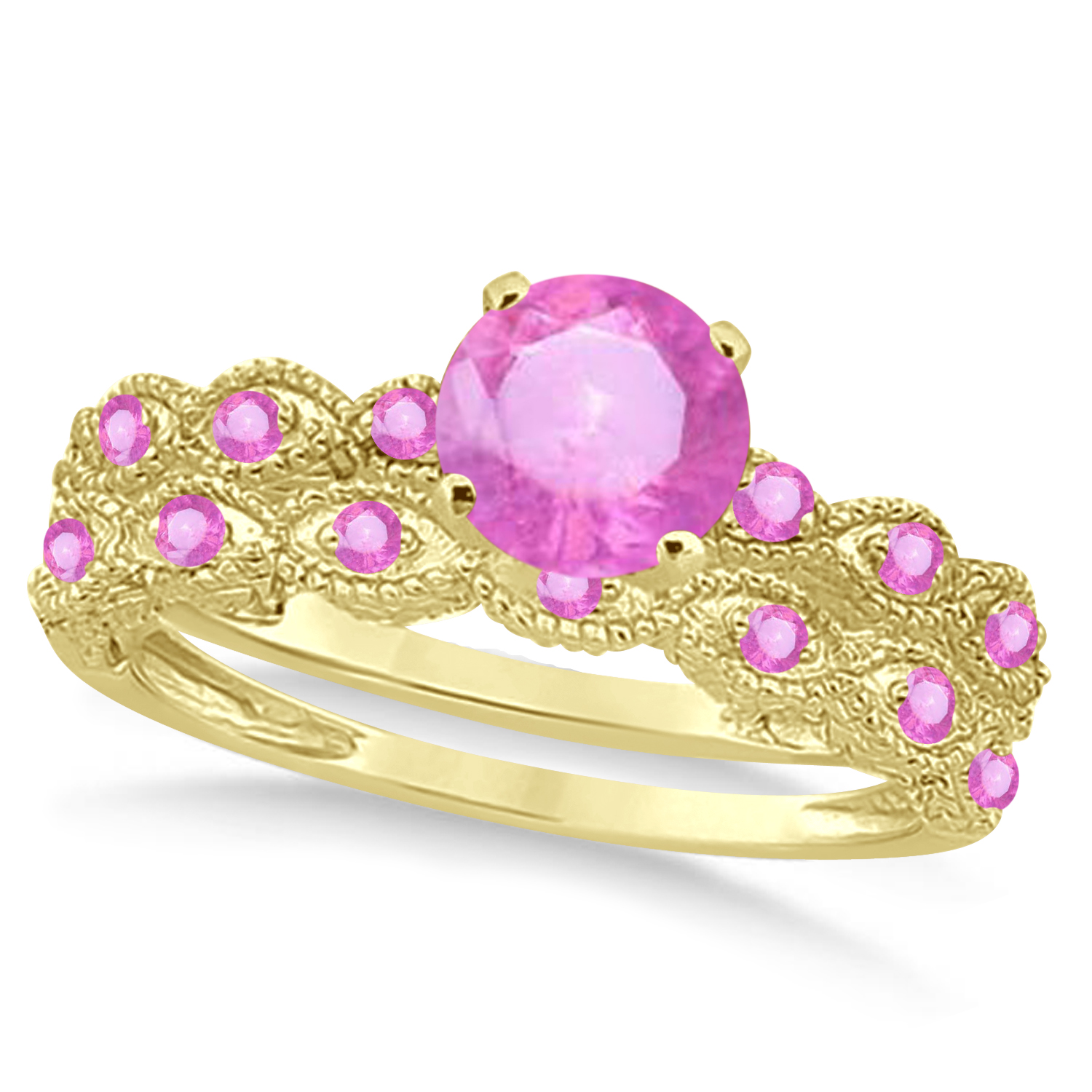 Vintage Pink Sapphire Engagement Ring Bridal Set 18k Yellow Gold 1.36ct